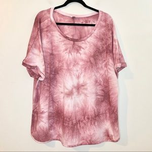 AVENUE Plus Size Rose Tie Dye Rolled Sleeve Shirt